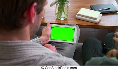 Ipad Tablet Computer Green Screen - Young people at home,...