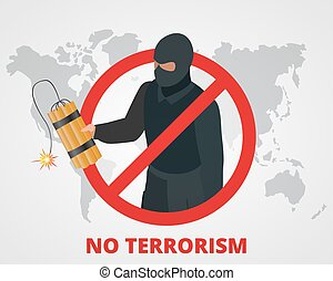 No terrorism. Stop terror sign anti terrorism campaign badge on world map. Flat 3d illustration.