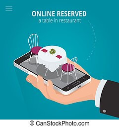 Online reserved table in restaurant. Concept Reserved in...