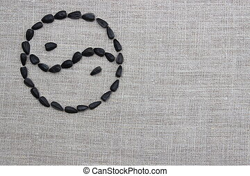 Yin yang symbol laid out from sunflower seeds