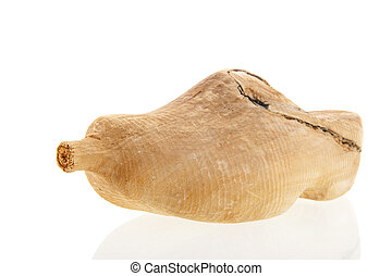 sample wooden shoe - sample dutch wooden shoe isolated over...