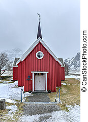 Flakstad Church - Lofoten Islands, Norway - Scenic old red...