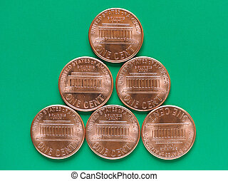 Dollar coin - 1 cent - USA Dollar coin currency of the...
