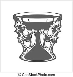 Isolated cup with a skull - abstract vector
