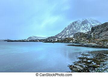 Reine, Lofoten Islands, Norway - Winter in Blomsteroya,...