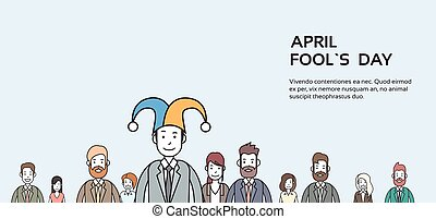 Business People Group Wear Jester Hat, Fool Day April...