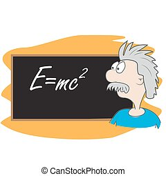 albert einstein vector cartoon illustration. scientist in...