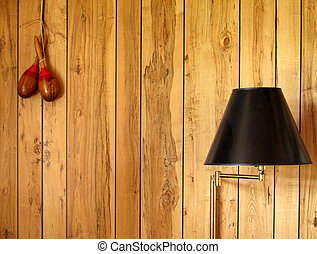 Wood Paneling - Retro wall with wood paneling, lamp and...
