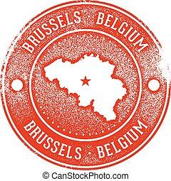 Brussels Belgium Rubber Stamp