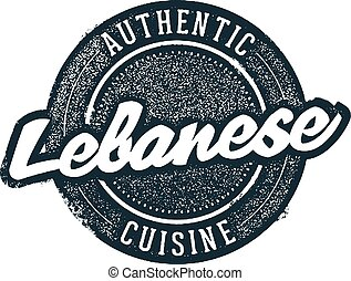 Authentic Lebanese Food - Vintage style stamp for restaurant...
