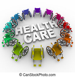 Wheelchairs in Ring Around Health Care Words - Many colorful...