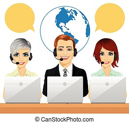 Happy call centre agents talking on headsets using laptops -...