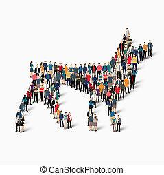wolf predator people - Isometric set of styles wolf, a...