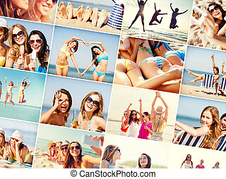 girls having fun on the beach - summer holidays and vacation...