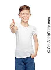happy boy in white blank t-shirt showing thumbs up -...