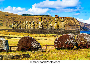 Moai in Rapa Nui National Park on Easter Island, Chile