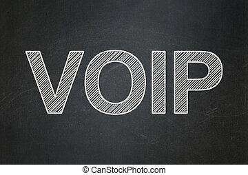 Web design concept: VOIP on chalkboard background