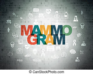 Health concept: Mammogram on Digital Paper background -...