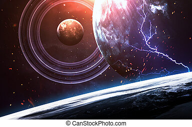 Universe scene with planets, stars and galaxies in outer...