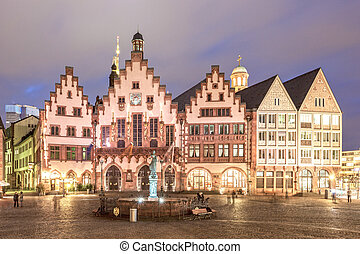 Historic buildings in Frankfurt Main at night - FRANKFURT,...