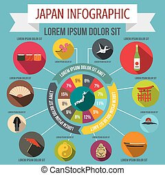 Japan infographic elements, flat style