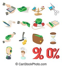 Bank icons set, cartoon style - Bank icons set in cartoon...