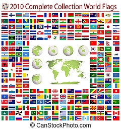 World flags and editable world map, complete collection