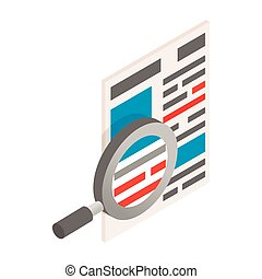 Newspaper with magnifying glass icon, isometric 3d