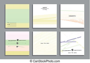 Set of artistic creative universal cards.