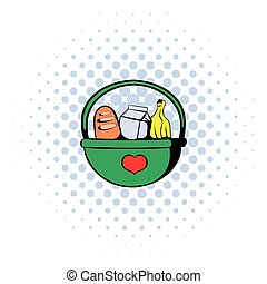 Basket with food icon, comics style