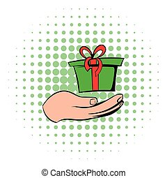 Gift red box in a hand icon, comics style
