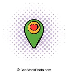 Map pointer with heart icon, comics style