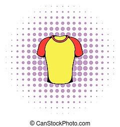 Sport shirt icon, comics style - Sport shirt icon in comics...