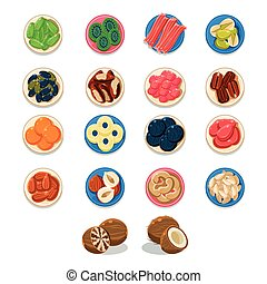 Breakfast Food Sample Plates Collection Simplified Flat...