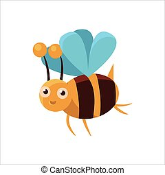 Bee Mid-air Icon - Bee Mid-air Childish Character Isolated...