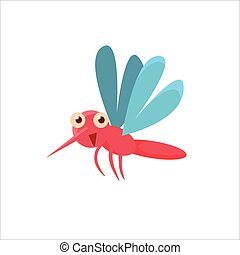 Mosquito Mid-air Icon - Mosquito Mid-air Childish Character...