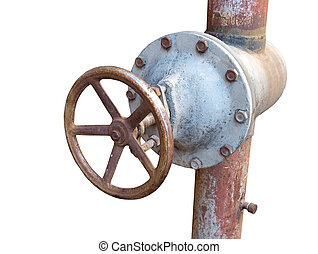 the Rusted valve - old metal pipe with valve on white...