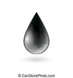 Falling Single Oil Drop - Falling single oil drop of black...