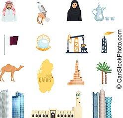 Qatar Flat Icons Set - Qatar flat icons set with oil natural...