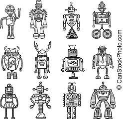Robots Doodle stile Black Icons Set - Funny robots toys...