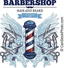 Barber Shop Advertisement Flat Poster - Barber shop haircut...