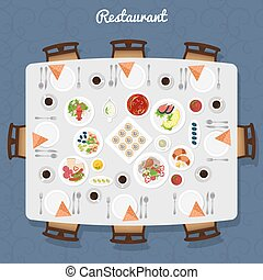 Restaurant Table Top View - Restaurant Table poster with...