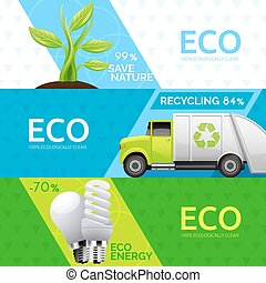 Ecology Nature Recycling Flat Banners Set