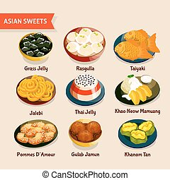 Asian Sweets Set - Asian sweets set with traditional...