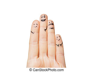 close up of hands and fingers with smiley faces - gesture,...