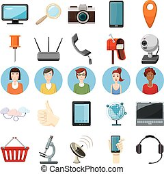 Office equipment icons set, cartoon style - Office equipment...