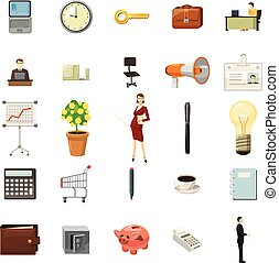 Office icons set, cartoon style - Office icons set in...