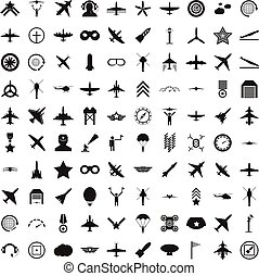 100 aviation icons set, simple style - 100 aviation icons...