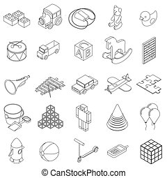 Children toys icons set, isometric 3d style - Children toys...