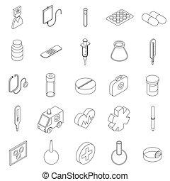 Medicine equipment icons set, isometric 3d style